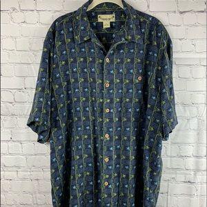 Navy Blue Hawaiian Shirt with Palm Trees